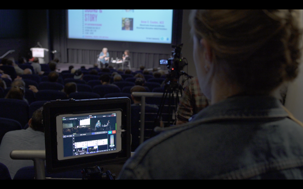 Live:Air switcher app from back of auditorium Sight Story Sound