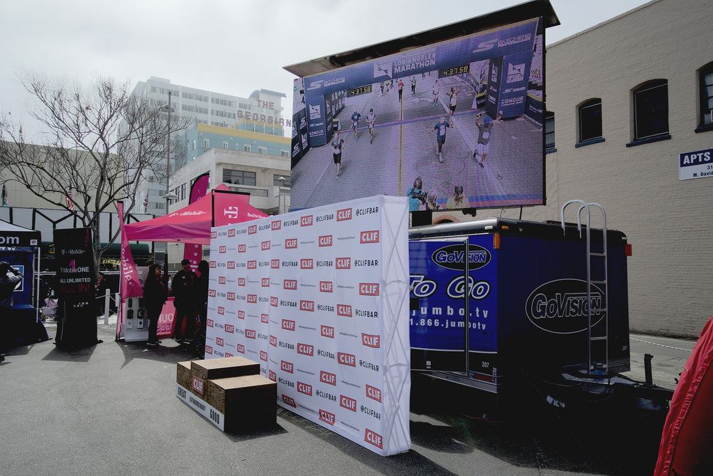 Cube used to connect the finish line with a Jumbotron in the rest area.