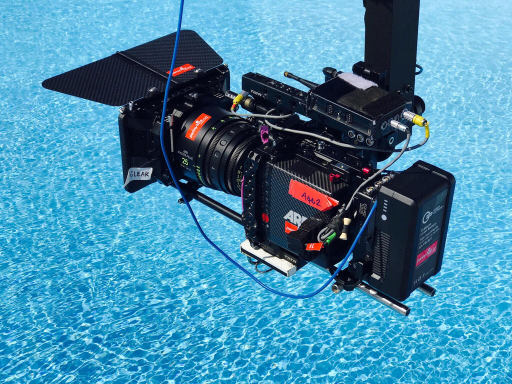 Alexa Mini with Teradek Bolt mounted to Technocrane for above water shots