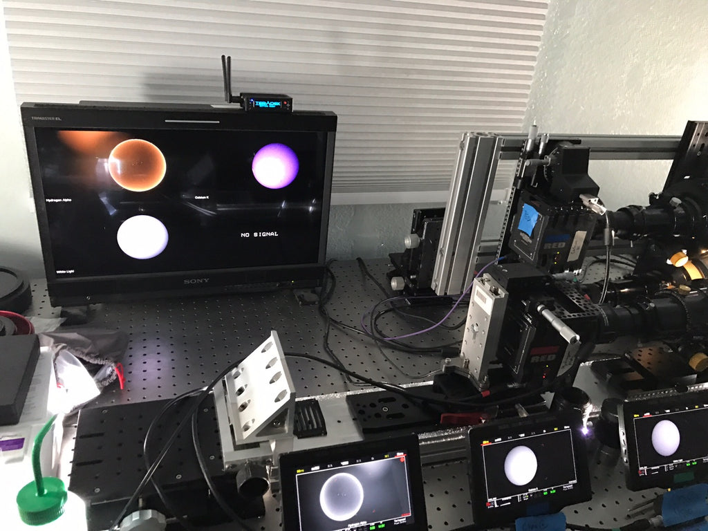 NASA Edge's eclipse 2017 setup using Teradek Cubes live streaming each eclipse telescope
