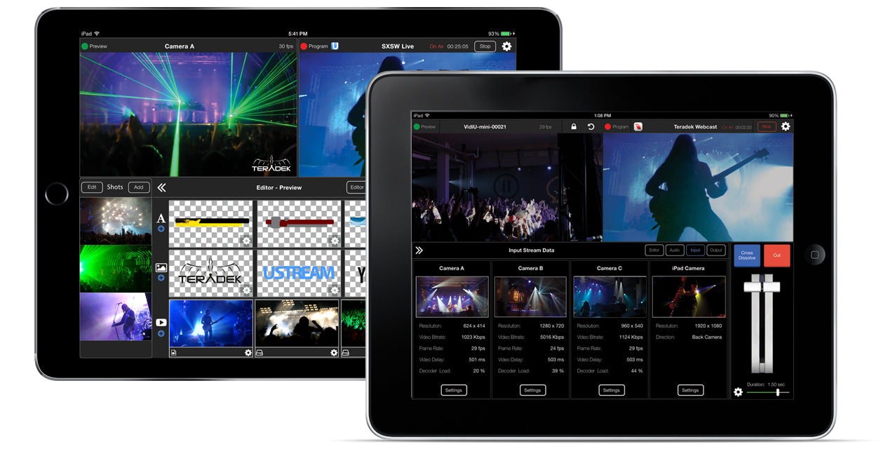 iPads running Live:Air with live concert footage allowing switching between multiple live feeds, lower thirds and overlays