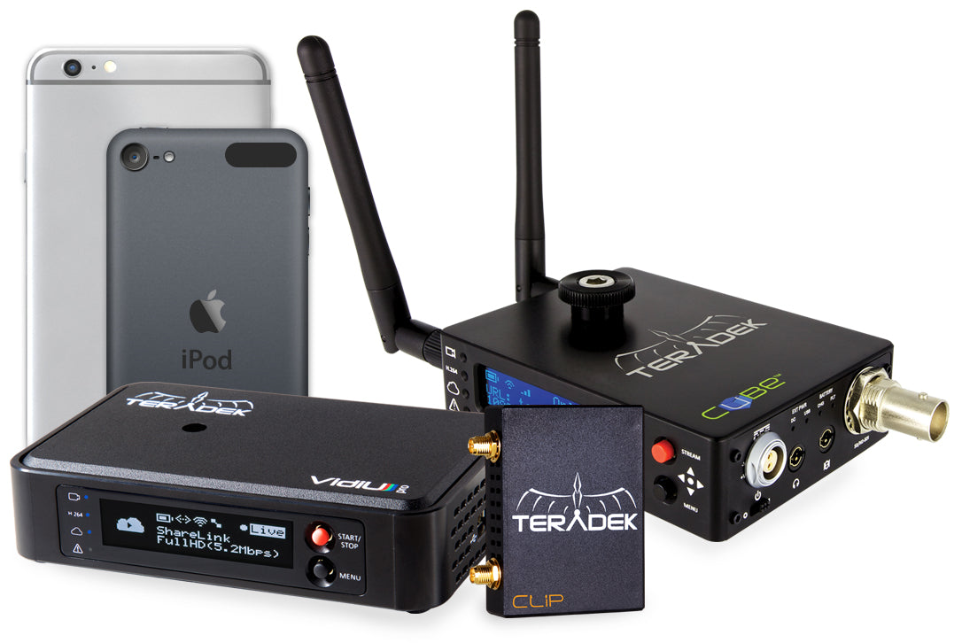 iOS devices with cameras, Teradek Encoders such as VidiU, Cube and Clip all work with Live:Air