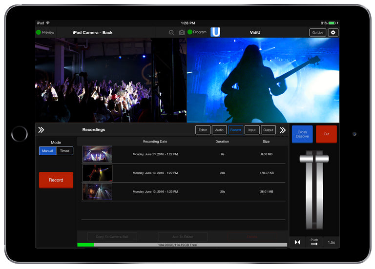 Live:Air interface showing the ability to Record your livestream in-app as a backup of your live production