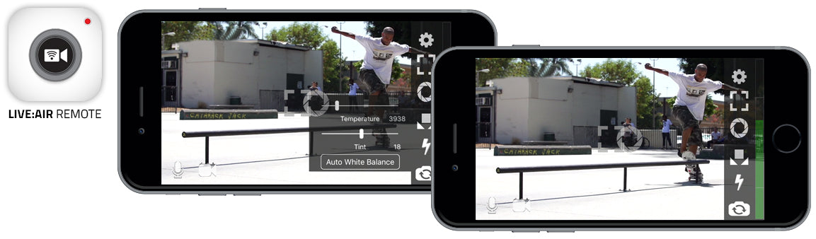 two iphones showing Live:Air app with footage of a skater