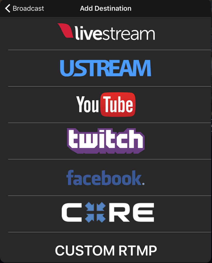 Live:Air comes integrated with popular streaming destinations