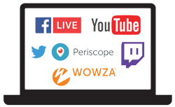 Stream to Facebook Live, YouTube, Periscope, and more