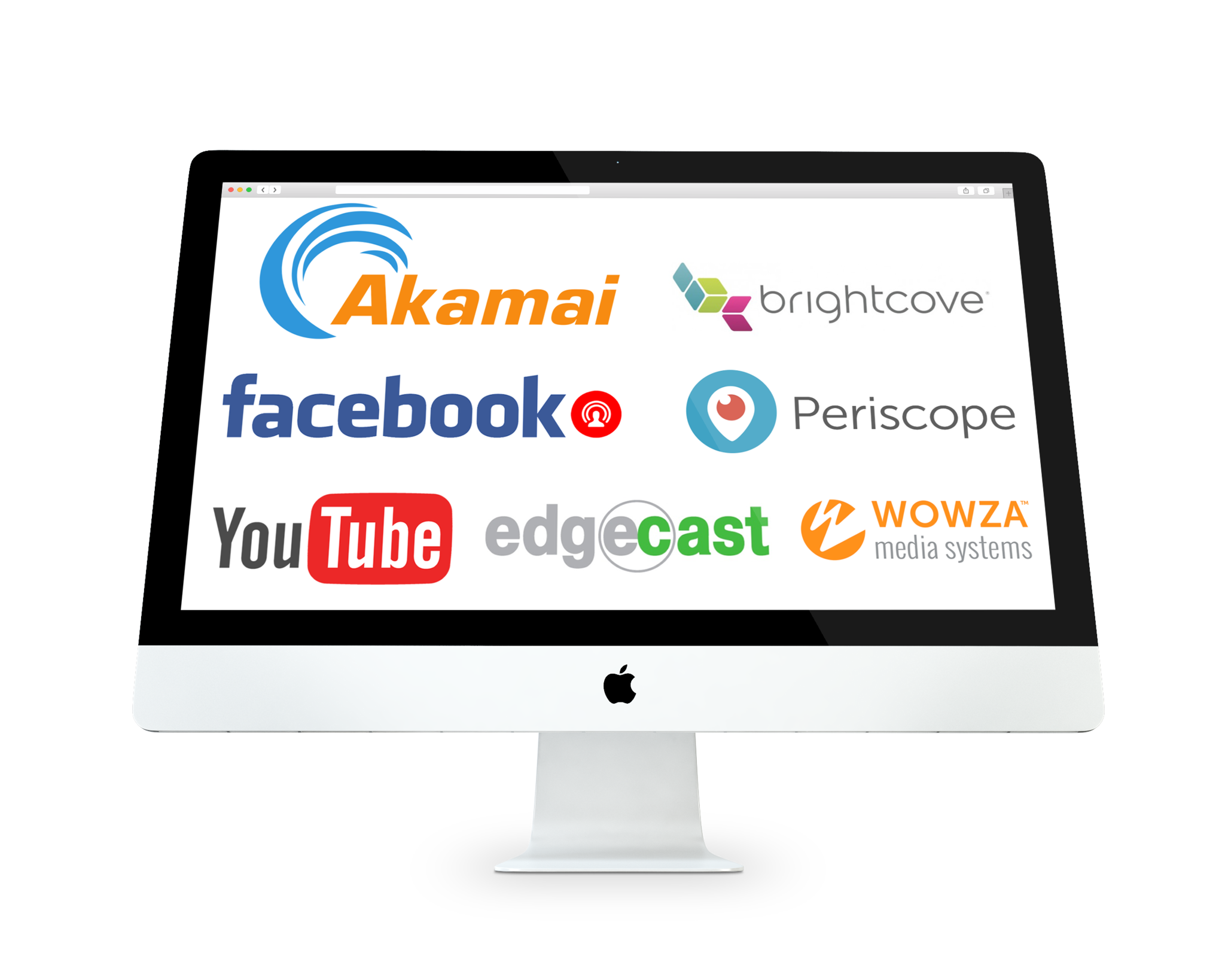 Logos of Compatible CDNs with Bond: Akamai Brightcove facebook Wowza and YouTube
