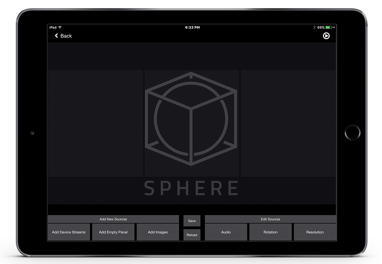 The Sphere app with image of the stiching engine interface to composite in real-time the rotation and pitch of the live video