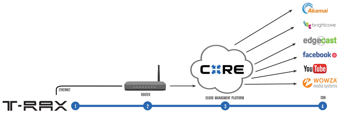 Diagram of T-RAX with Core used for multipoint streaming