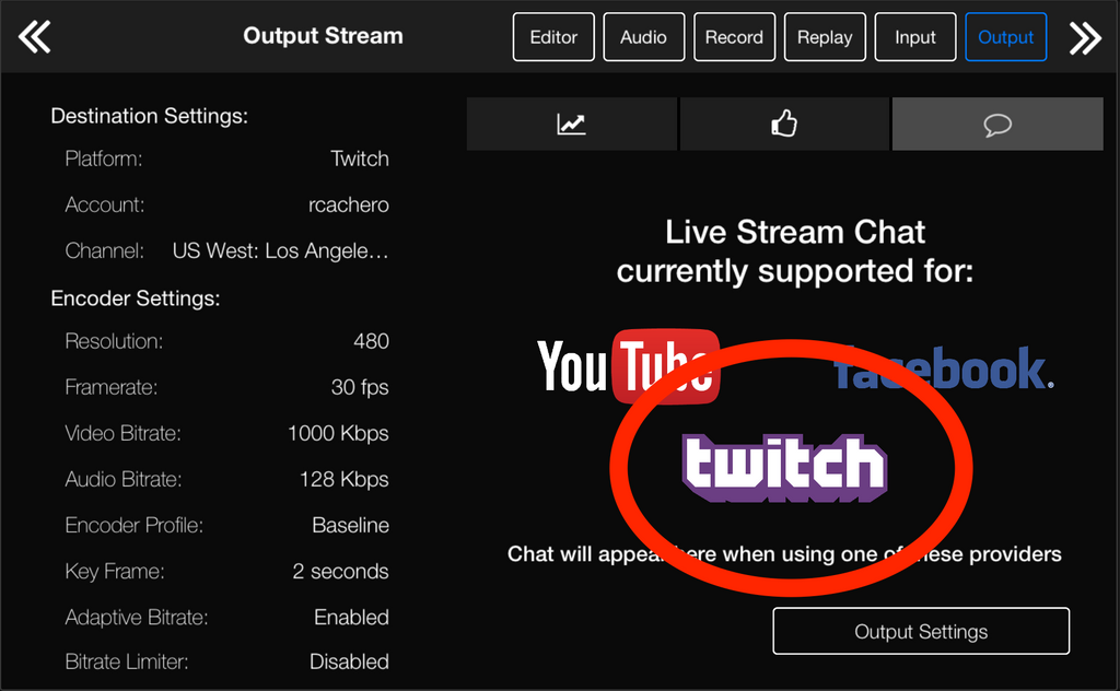 Twitch chat has been added to Live:Air