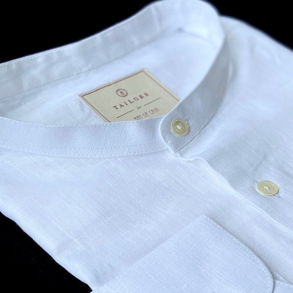 Band Collar White Linen Shirt