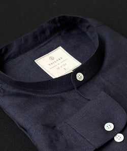 Band Collar Blue Linen Shirt