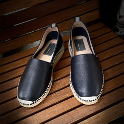 Leonardo Black Leather Espadrilles