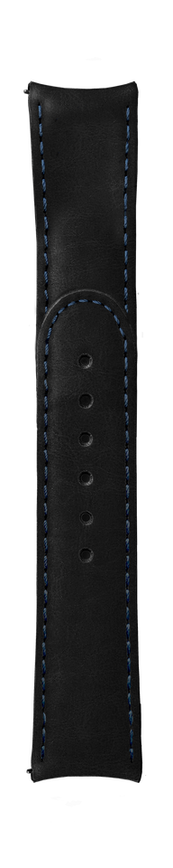 "ESSENCE ""Deployant"" Black Leather Strap Blue Stitching (without clasp)"