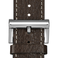 Leather strap brown white stitching