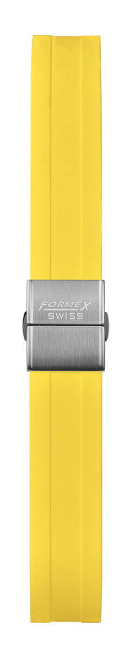 Rubber strap yellow (with steel folding clasp)