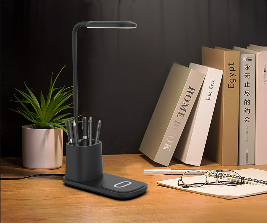 Wireless Charging Station with Pen Holder and LED Lamp