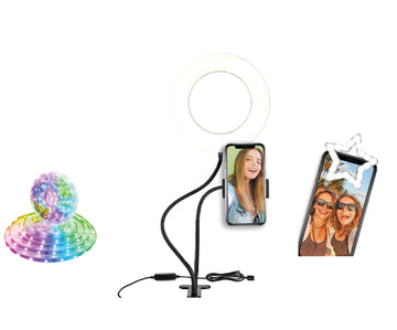 Social Media Recording Set- 6 ft LED Light Strip, 6 inch clip on Ring Light, & Selfie Light