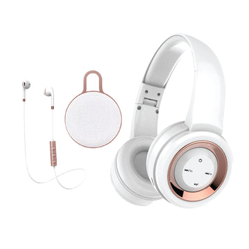 Lyrix 3 Piece Bluetooth Audio Set- Bluetooth over ear headphones, Earbuds, and Speaker