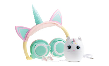Unicorn 3-Piece Audio Gift Set- Light-up Headphone, Bluetooth Speaker, &  Earbuds