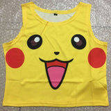 Sexy Girls Cosplay Costume Pokemon Pikachu underpants Crop Tops Shirt Print tank tops Colorful sleeveless Tee Vest Underwear set