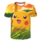 Elf dream harajuku 3d T-shirt Pikachu short sleeve jacket for men and women casual wear pokemon t-shirt shorts streetwear a men