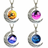 Vintage Glass Necklace With Crescent Moon Pokeball