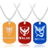 Pokemon Go Dog Tag Team Valor Mystic Instinct Logo Pendent Metal