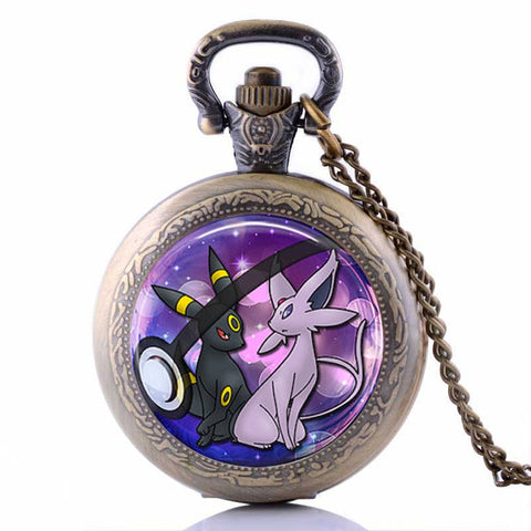 Espeon And Umbreon Pocket Watch Necklace
