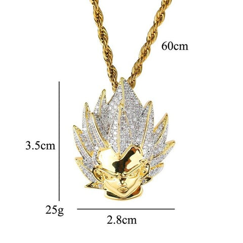 Iced Out Copper Goku Pendant 60cm Rope Cuban Chain Necklace With Box