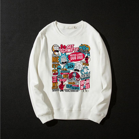 Cartoon Print Sweatshirt Rick and Morty Long Sleeve