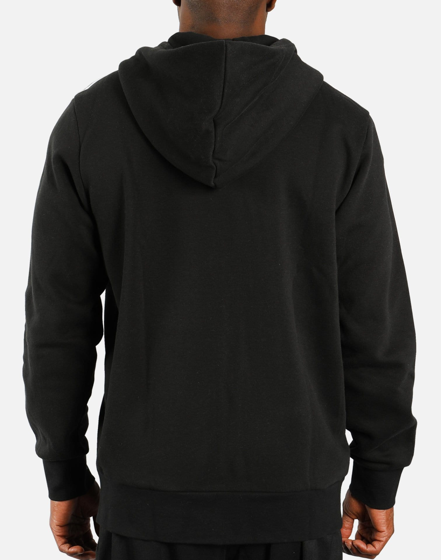 adidas Essential 3-Stripes Fleece Hoodie (Black/White)
