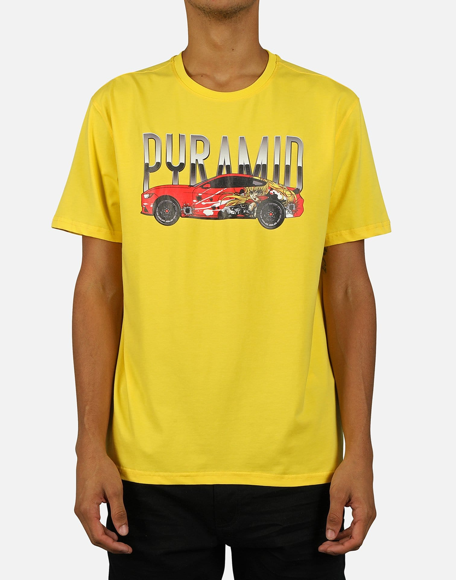 Black Pyramid men's Anime Car Tee