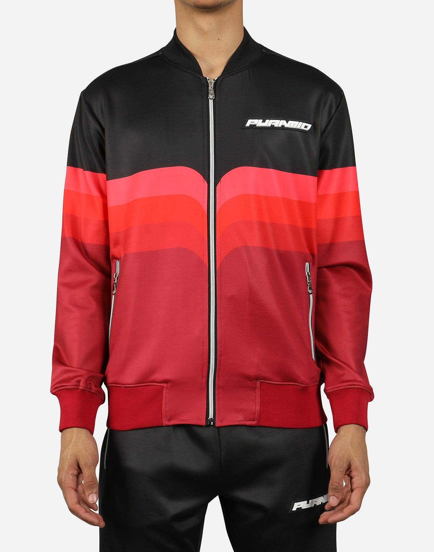 Black Pyramid Men's Gradient Stripe Bomber Jacket