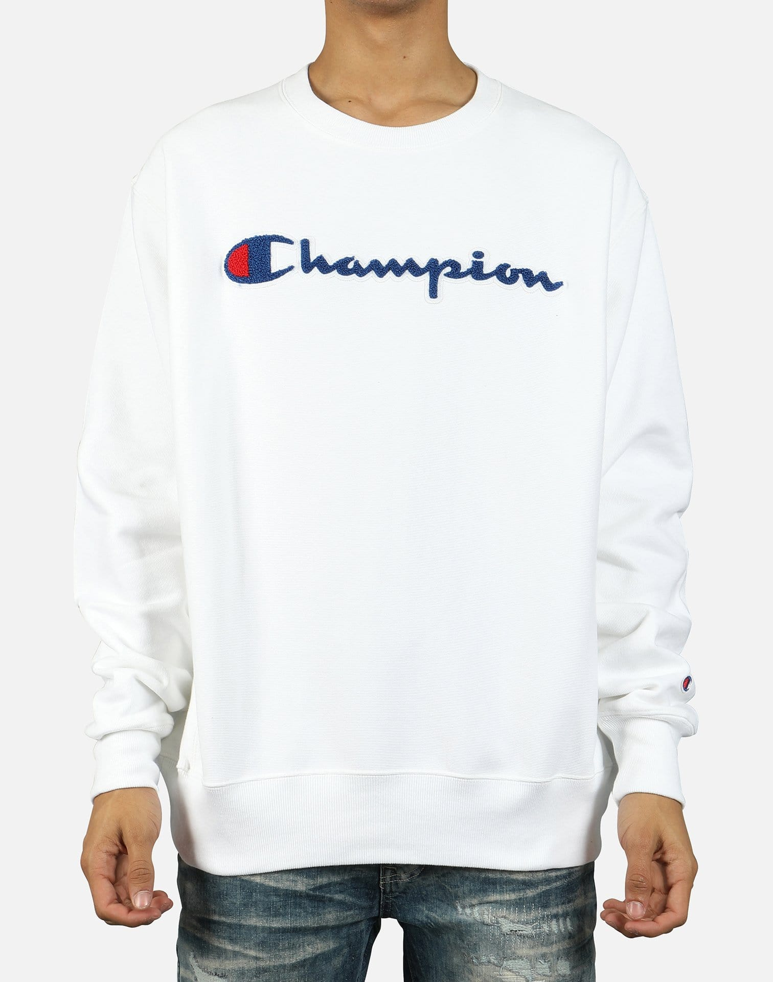 Champion Men's Reverse Weave Chain Stitch Script Logo Crew Sweatshirt