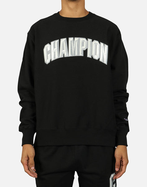 Champion Men's Reverse Weave Floss Stitch Block Arch Crew