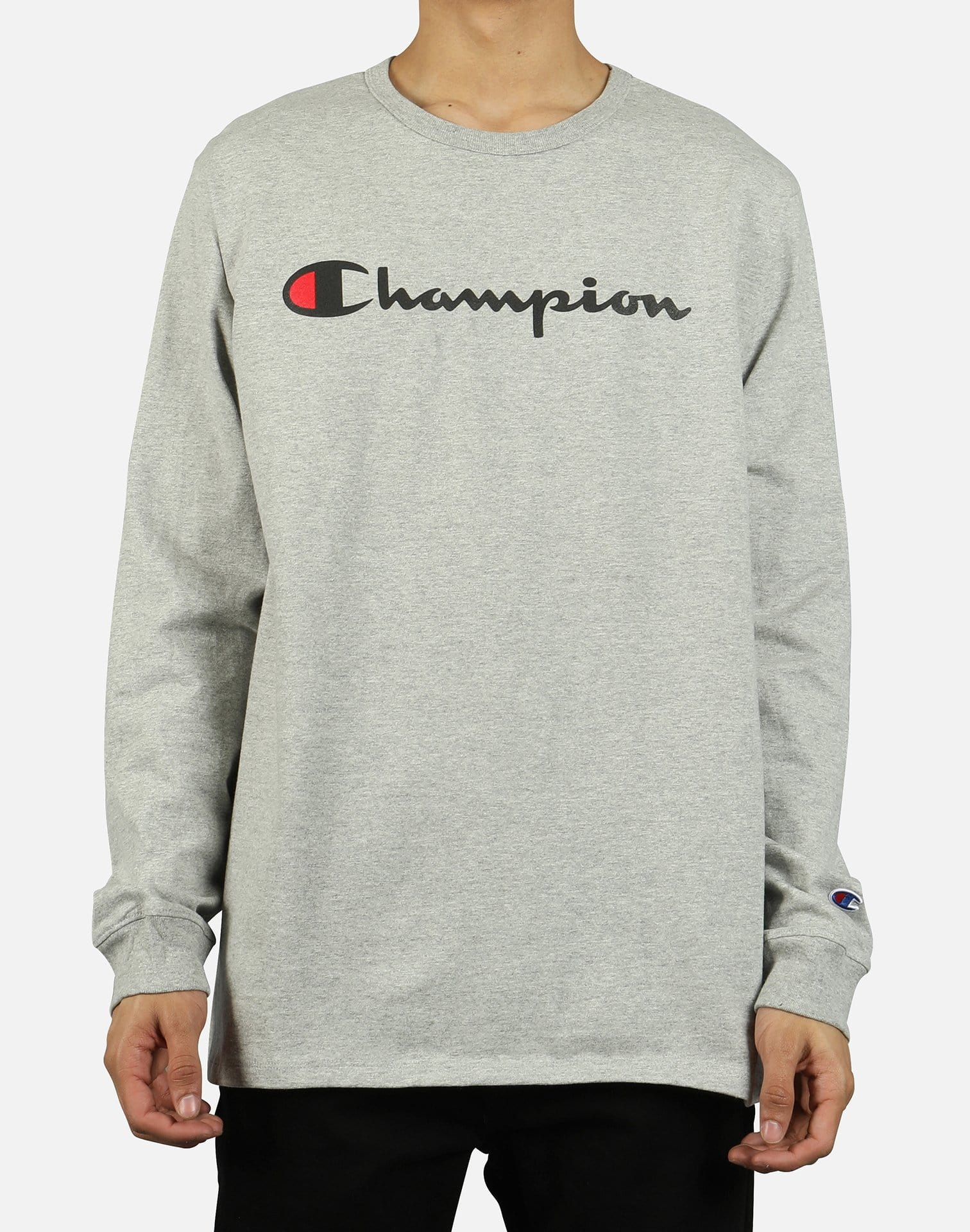 Champion Men's Ink Script Logo Long-Sleeve Shirt