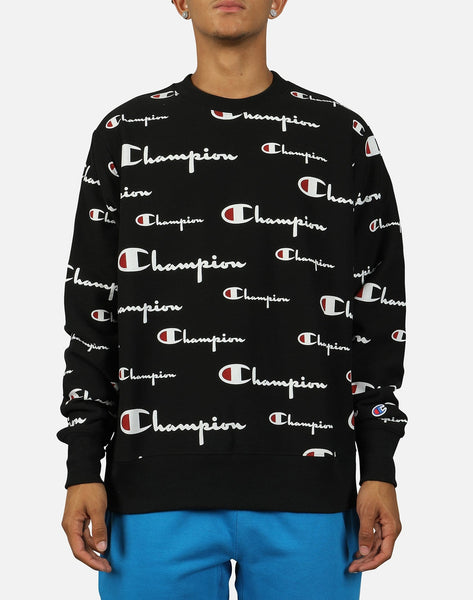 Champion Men's All Over Script Logo Reverse Weave Crew