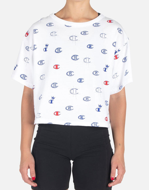 Champion Women's All-Over Printed Logo Crop Top