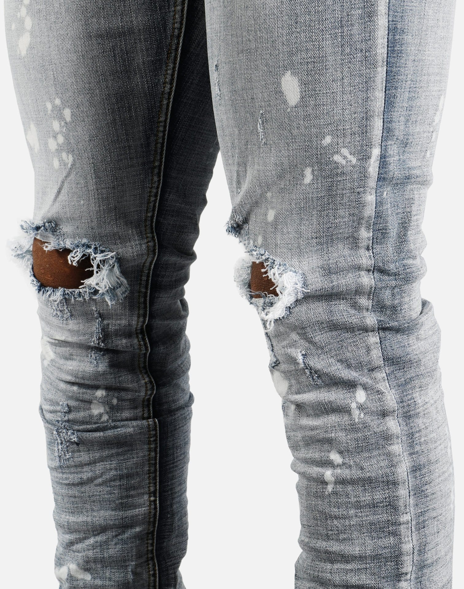 Denim House Rip Knee Paint Splatter Jeans (Blue)
