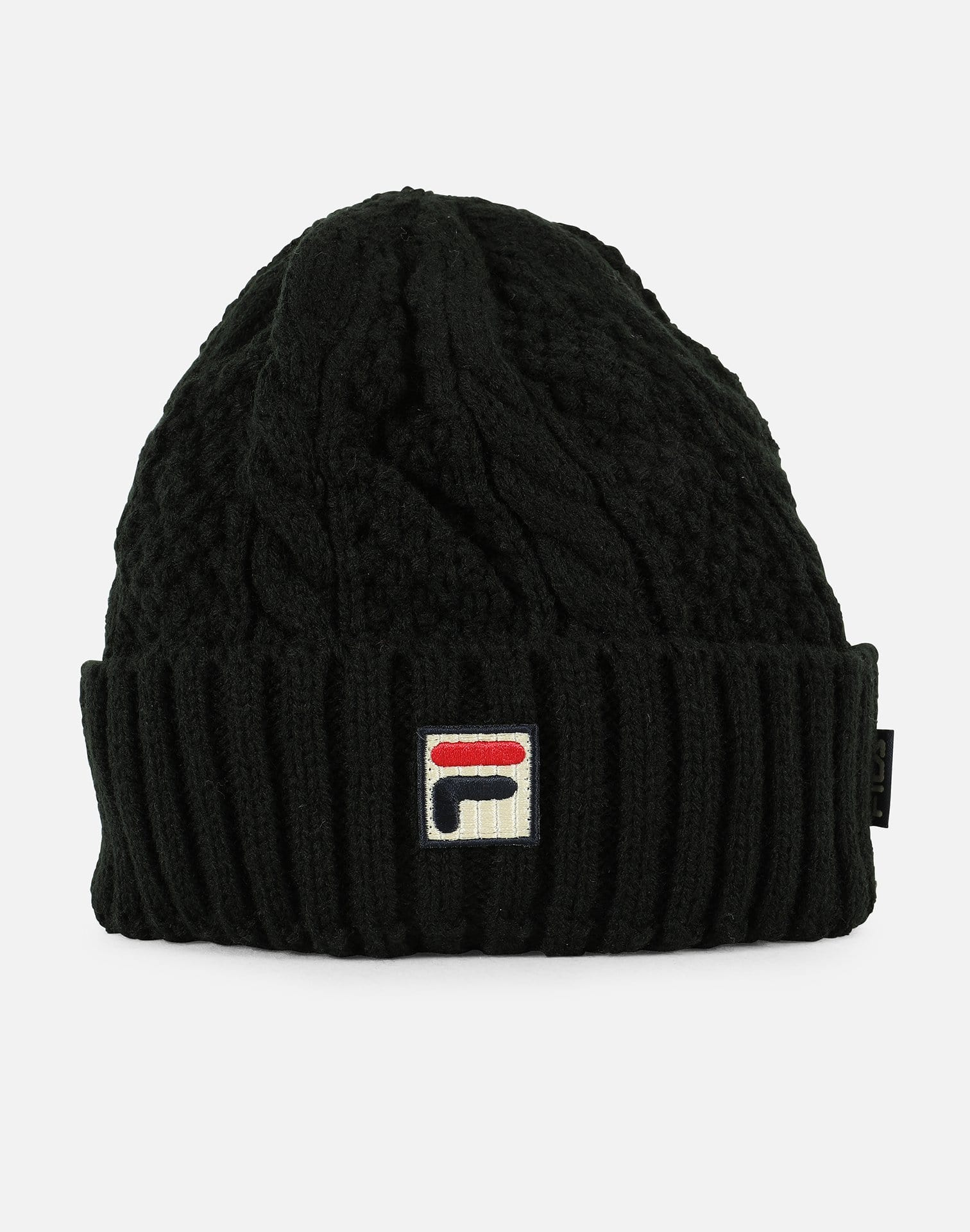 FILA Box Logo Cable Knit Beanie