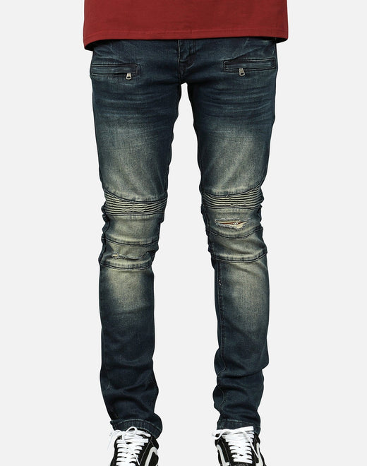 Kilogram Inc. Men's Ripped Moto Jeans