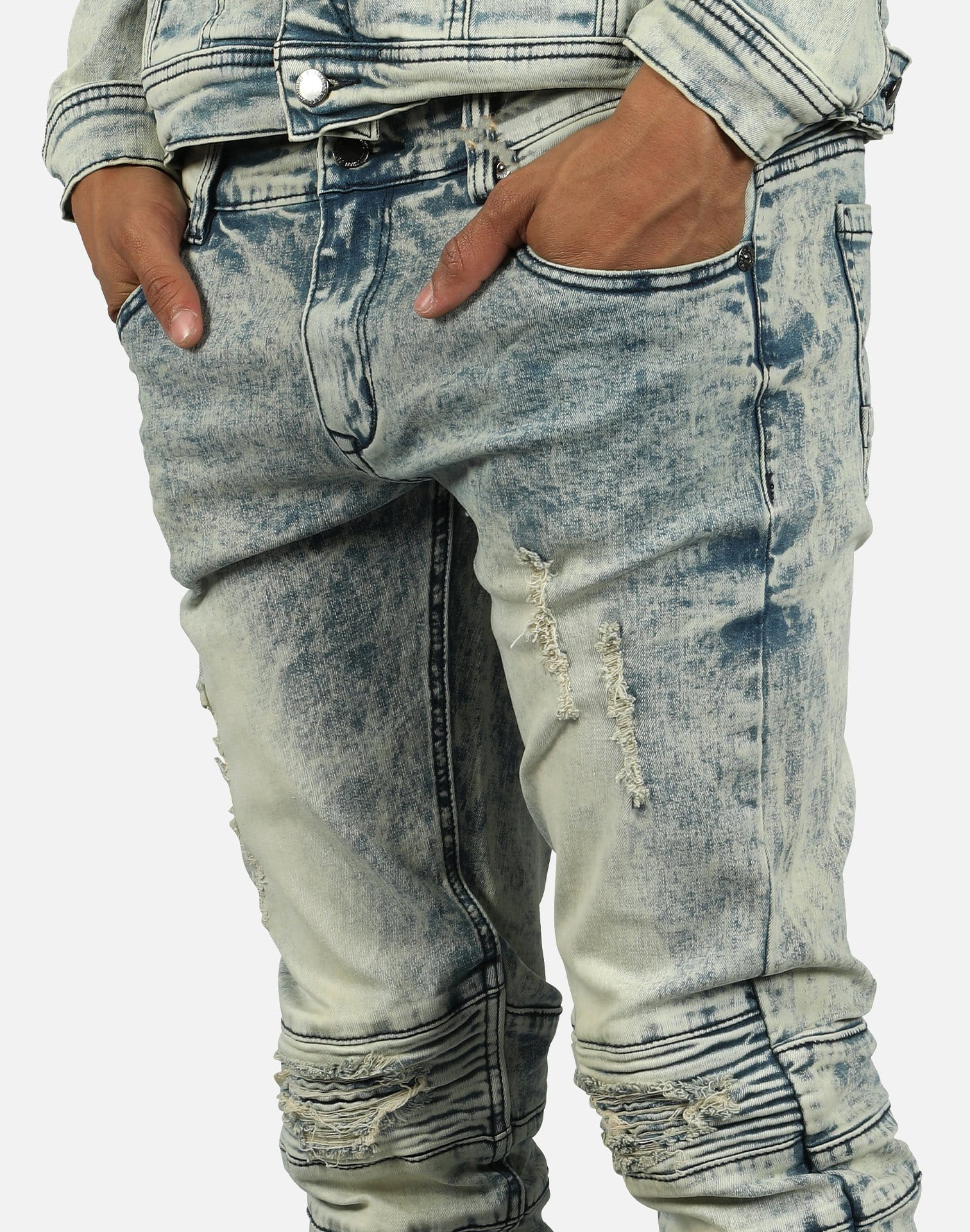 Kilogram Inc. Men's Distressed Rip Moto Jeans