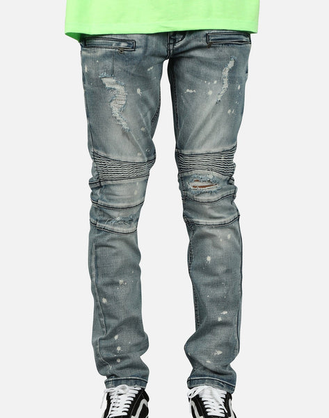 Kilogram Inc. Men's Knee Out Splatter Paint Moto Jeans