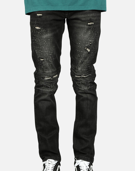 Kilogram Inc. Men's Distressed Moto Jeans