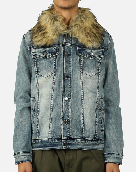 SHORT FUR DENIM JACKET