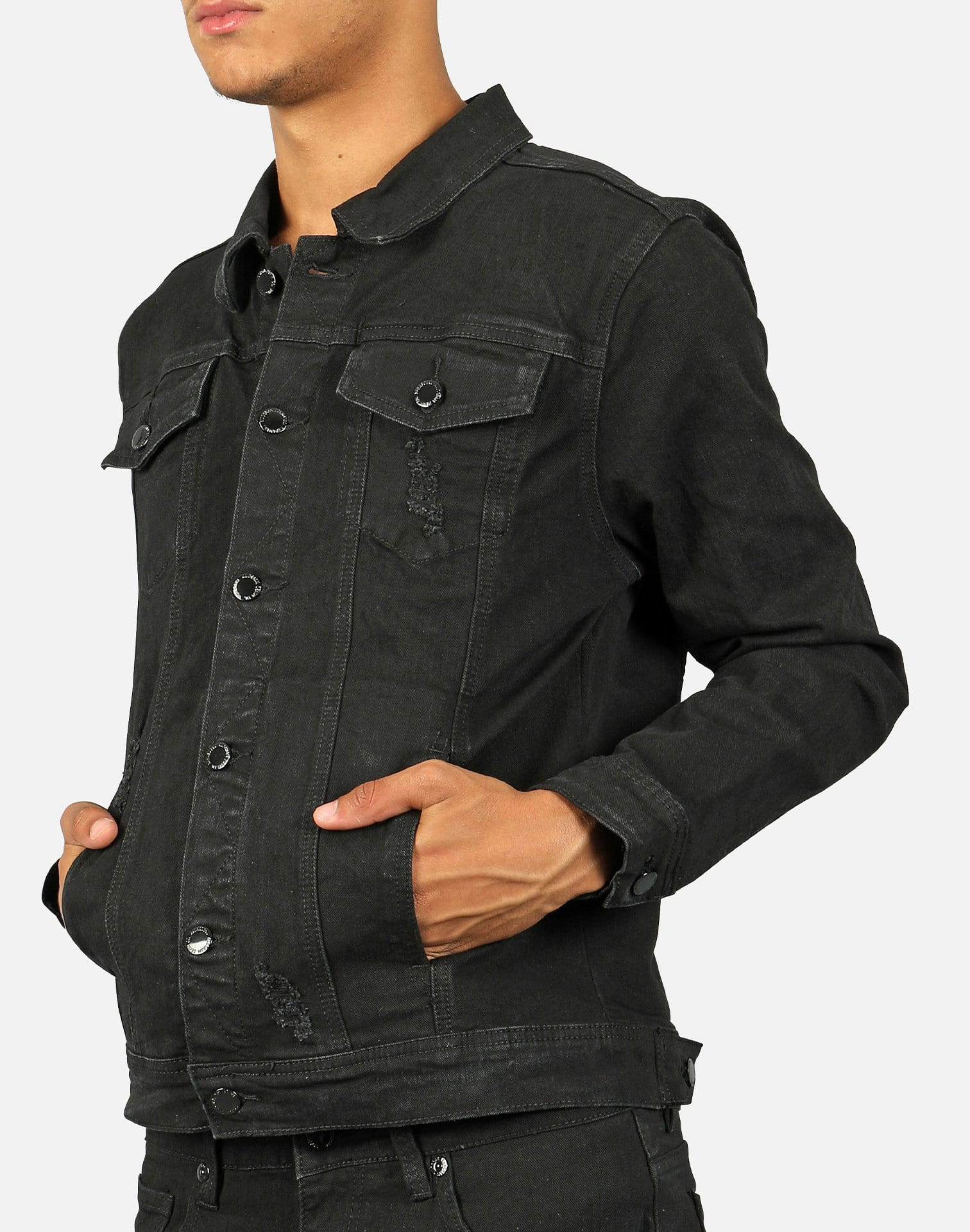 Kilogram Men's Distressed Moto Repair Jean Jacket
