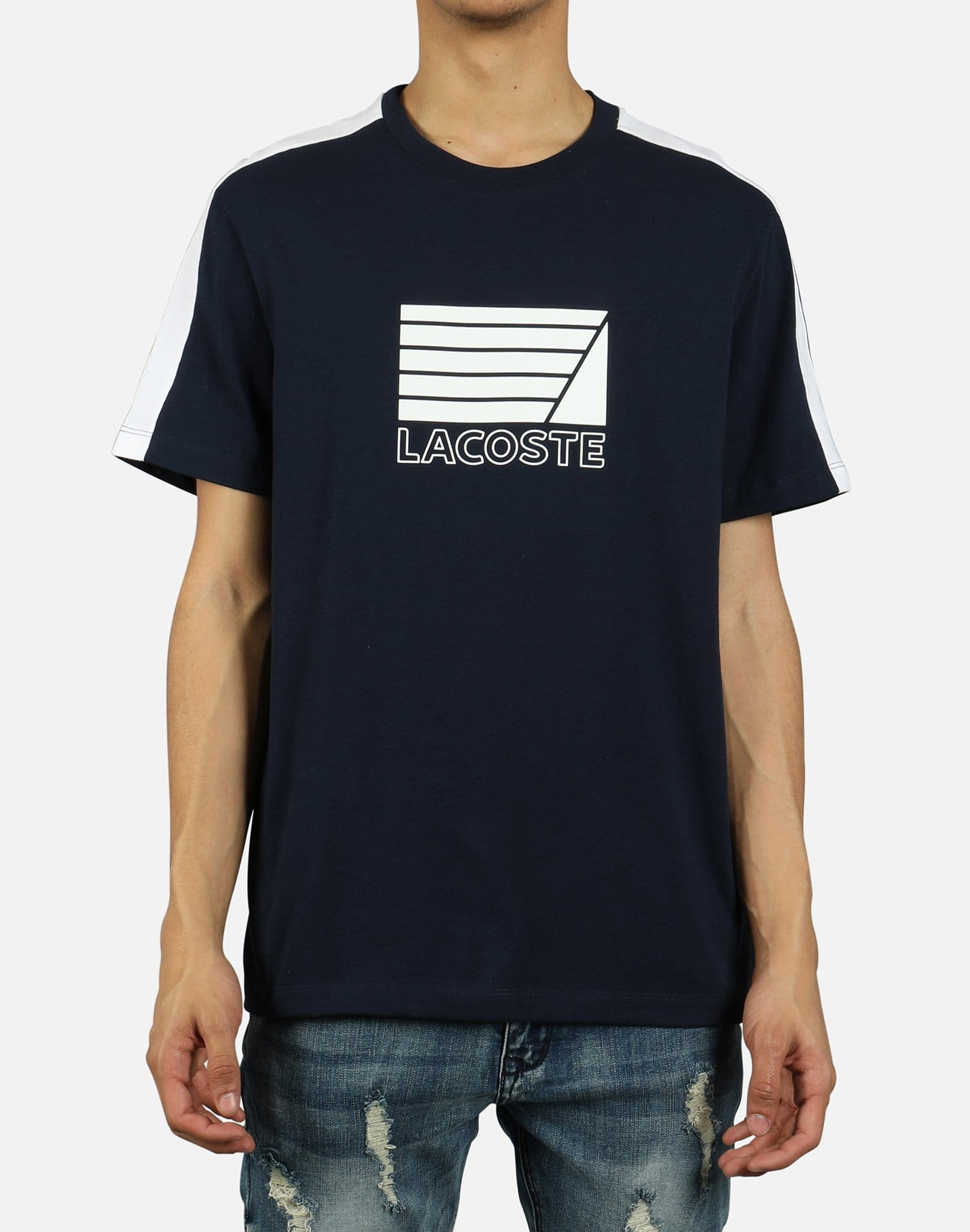 Lacoste Men's Contrast Bands And Nautical Logo Tee