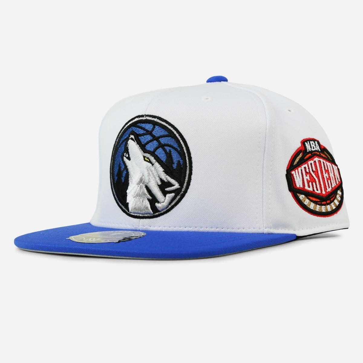 Mitchell & Ness Minnesota Timberwolves High Crown Fitted (White/Blue-Black-Silver)