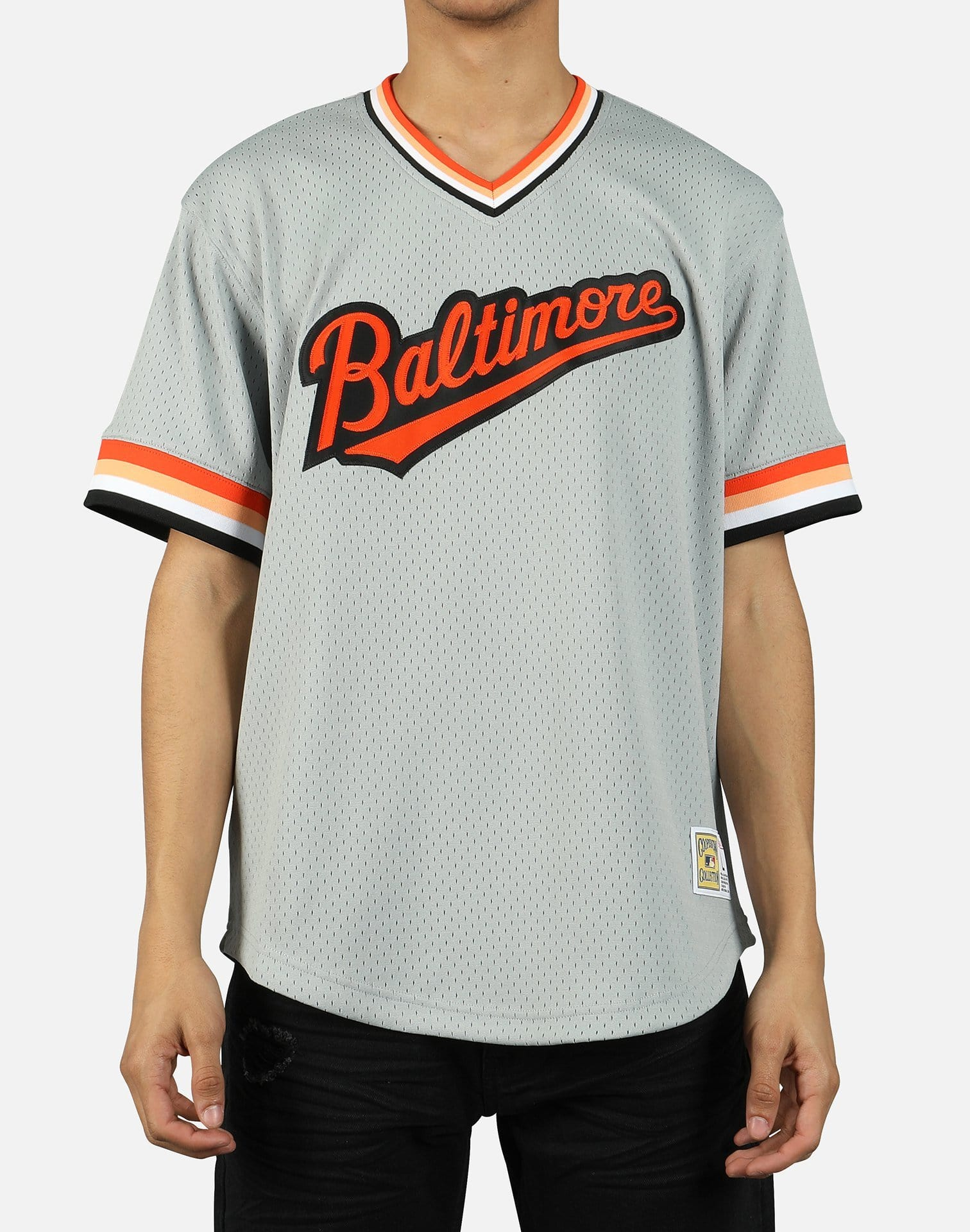 Mitchell & Ness Men's MLB Baltimore Orioles Mesh V-Neck Jersey